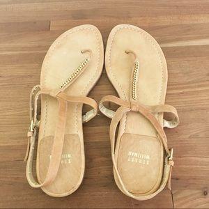 Stuart Weizman gold tan t-strap sandals 9